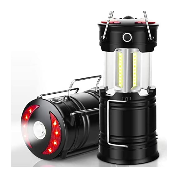 Ezorkas 2 pack camping lanterns, rechargeable led lanterns, hurricane lights with flashlight and magnet base for camping… 1 super bright & large area brightness. The latest cob bulbs offer ultra-bright lights. 360 degree coverage lighting provide high visibility to meet large area brightness. 4 lighting modes. Collapsible cob led lantern. Flashlight. Red warning light(strobe & sos light). Ezorkas led camping lantern is a vital filed survival tool and camping accessories. Rechargeable & long-lasting. It is a rechargeable camping lantern and also powered by battery. There is a built-in 18650 battery , so you can recharge the lantern via usb charging cable. You can also place 3*aa batteries (not included) to use it. By using these two ways of battery supplying, never let you be left in a sudden darkness. Durable & water-resistant. Compact lamp body prevents it being damaged from collision. The rechargeable lantern is water-resistant due to its abs military material and cob bulb. The camping lamp can adapt to all kinds of severe hurricane and rainstorm weather. Perfect camping light for your indoor or outdoor activities.