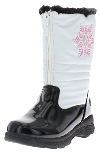 totes Girl's Juno Snow Boot, Kid's White Snow Boot | Wide Calf Winter Boots for Kids Size - 12