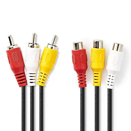 KnnX 28159 | Cable de extensión estéreo de Audio y Video Compuesto | Longitud: 5 Metros | 3 x Phono RCA Macho a Hembra | Triple Conector componente Rojo, Blanco y Amarillo