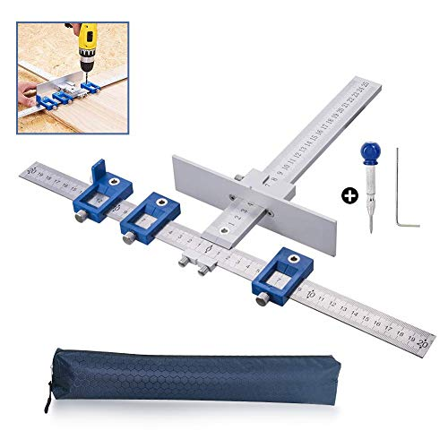 Cabinet Hardware Jig/Punch Locator Tool Drill Guide Template Wood Drilling Dowelling for Installation of Handles, Knobs on Doors and Drawer Pull with Center Punch(Aluminum with Steel)