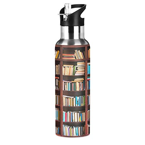 BGIFT Botella de agua vintage con tapa de pajita, aislada al vacío, termo de acero inoxidable, botella de agua de 20 onzas para deporte, bicicleta, fitness, senderismo