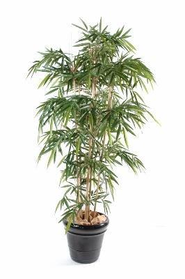 Bambou artificiel New UV résistant 6 cannes - extérieur balcon terrasse - H.120cm vert - taille : 120 cm