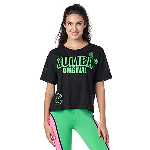 Zumba Camiseta deportiva de diseño gráfico para mujer - negro - XL