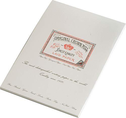 Original Crown Mill 'Classic Line' Schreibblock, DIN A4, Büttenpapier mit feiner Rippenstruktur, Cremefarben - 50 Blatt