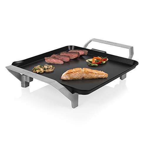 Princess Table Chef Premium 103090 Compacta, Plancha Mini Cuadrada, Alta Potencia, Negro, 28 x 28 cm