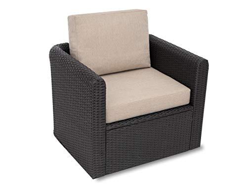 Miatech Cojín para sillón de ratán, muebles de jardín, Technoratán, interior y exterior, 60 x 55 cm, color beige
