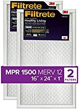 Filtrete 16x24x1, AC Furnace Air Filter, MPR 1500, Healthy Living Ultra Allergen, 2-Pack (exact dimensions 15.81 x 23.81 x 0.78)