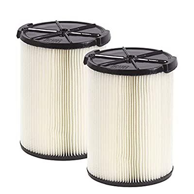 WORKSHOP Wet Dry Vac Filters WS21200F2 Standard Wet Dry Vacuum Filters (2-Pack - Shop Vacuum Filters) For WORKSHOP 5-Gallon To 16-Gallon Shop Vacuum Cleaners