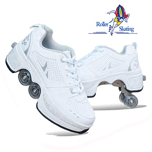 SHANGN Inline-Skate-Damen-Rollschuhe 2-in-1-Mehrzweckschuhe Verstellbare Quad-Rollschuhe Für Erwachsene Kinder Jungen Mädchen Festival-Geschenkschuhe,WhiteSilver-38