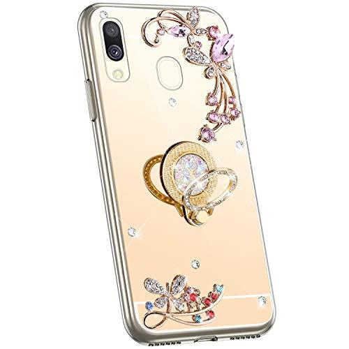 Jinghuash Compatibel met Samsung Galaxy A40 telefoonhoes spiegel strass goud