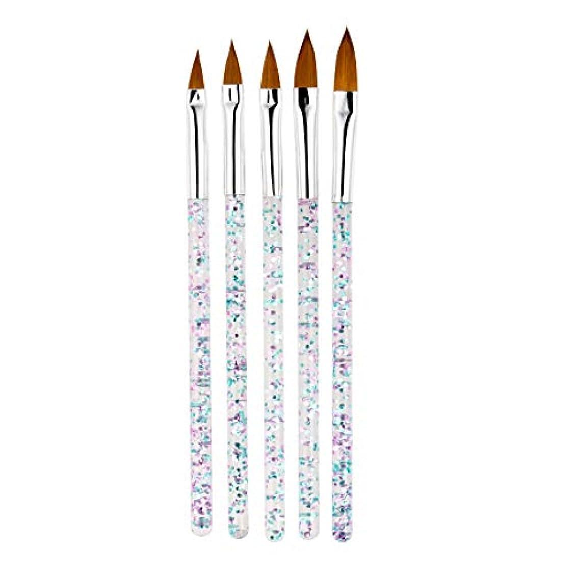 カバー弾薬マニアCUHAWUDBA 5本/セット、11/13/15/17/19Mm ネイルアート水晶ブラシ、Uvジェルのビルダー、絵画用ドットペン、彫刻、先端、マニキュア、サロンのツール