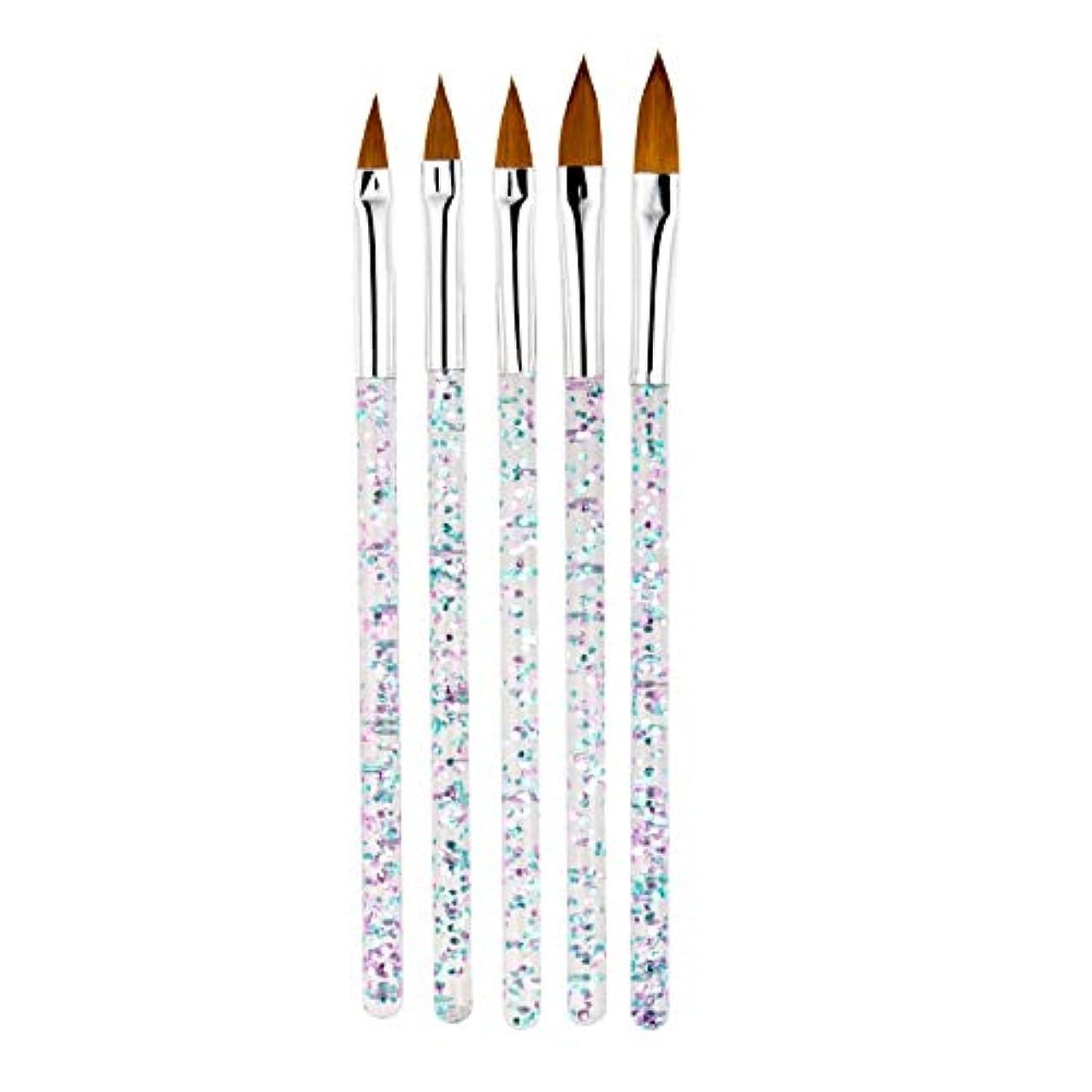 伝統頑丈コンベンションTOOGOO 5本/セット、11/13/15/17/19Mm ネイルアート水晶ブラシ、Uvジェルのビルダー、絵画用ドットペン、彫刻、先端、マニキュア、サロンのツール