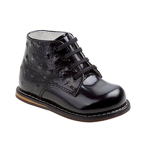 Josmo Boys First Walking Shoes Ankle Boot, Black Patent Ostrich, 6.5 Toddler