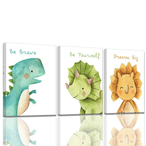 Canvas Wall Art Watercolor Dinosaur Room Decor for Boys Ready to Hang Kids Room Educational Gift Wall Decorations Framed Wall Art Gallery Wrapped 3 Pieces Canvas Art Print Set Stretched 12x16inchx3