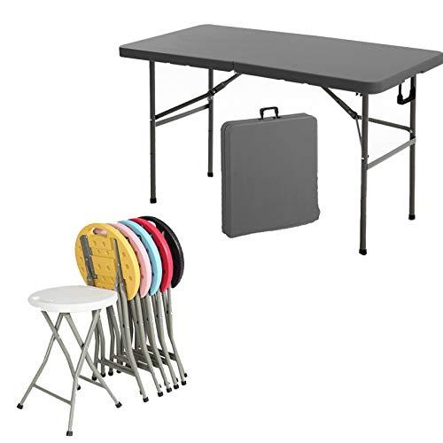 HXGL-Drum Mesa de Camping Plegable con Juego de sillas, Escritorio Ligero Ajustable en Altura, portátil para Picnic al Aire Libre, Playa, Patio Trasero para Oficina en casa
