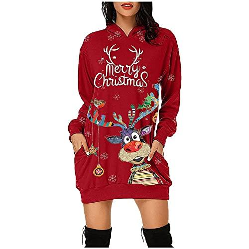 Sudadera con capucha para mujer, con estampado de Navidad, manga larga, con capucha, para mujer, A rojo, XL