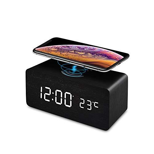 FiBiSonic LED Wecker digital mit Wireless Charger Wecker aus Holz Wecker Design Deko led Uhr Standuhren Klein Vintage Schreibtisch Schwarz
