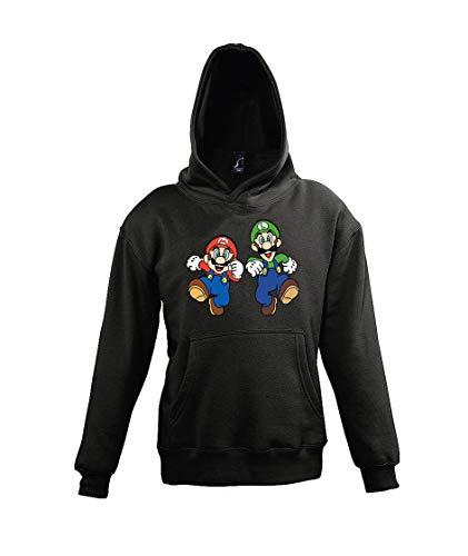 TRVPPY Kinder Hoodie Kapuzenpullover Mario & Luigi - Schwarz 106/116 (6 Jahre)