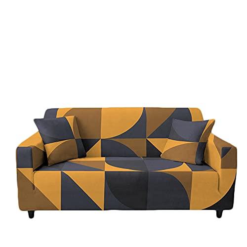 Meiju Fundas de Sofá Elasticas 1 2 3 4 Plazas Enrejado Ajustables Antideslizante Cubierta de Sofá Lavable Extensible Funda Cubre Sofas Furniture Protector (1 Plaza - 90-140cm,Clásico Amarillo)