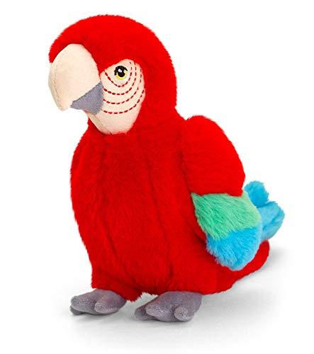 tachi Plüschtier Ara sitzend, Kuscheltier Papagei rot, Stofftier Vogel 20 cm aus 100{2e062eefa3ebdd5b0fb10544534a6b91bef97a91e9d5dbe7ebeaa7f6d2428467} recycelten Plüsch