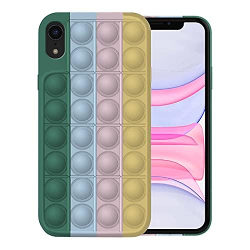 Fidget Toy Funda para iPhone XR Apple,Fidget Toy Pack iPhone XR Funda Silicona Antigolpes Pop It Fidget Toys Set Case (iPhone XR, 7)