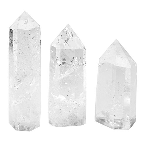 QGEM 3pcs Rock Crystal Quartz Self Standing Healing Crystal Point Wand Faceted Prism Wand Reiki Stone Decor Box Gift