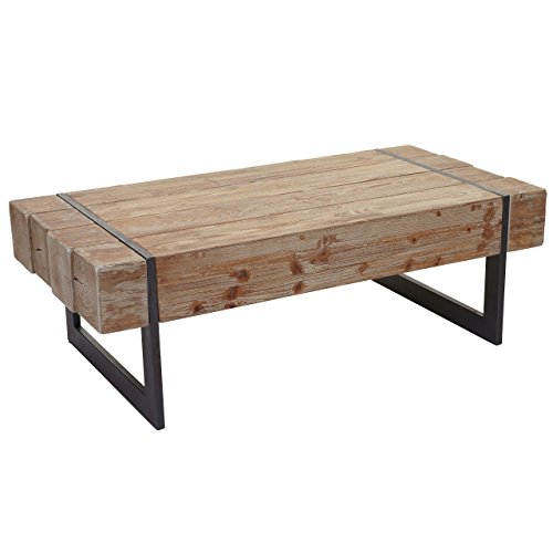 Mendler Couchtisch HWC-A15a, Wohnzimmertisch, Tanne Holz rustikal massiv 40x120x60cm ~ naturfarben