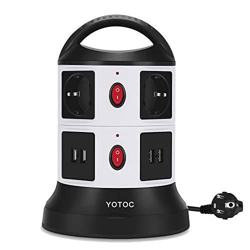 Multipresa Ciabatta, YOTOC Multipresa Ciabatta Elettrica Surge Protezione Con 6 Prese Polivalenti e 4 Slot USB presa di corrente Con cavo 3M (9,8 piedi)