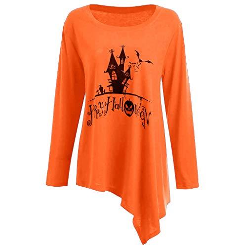 CLOOM Halloween Sudaderas Castillo Antiguo Impresión de Calabaza Emoticonos para Mujer,Falda Cortas Otoño Pullover Camiseta de Manga Larga Blusa Irregular Casual Tops