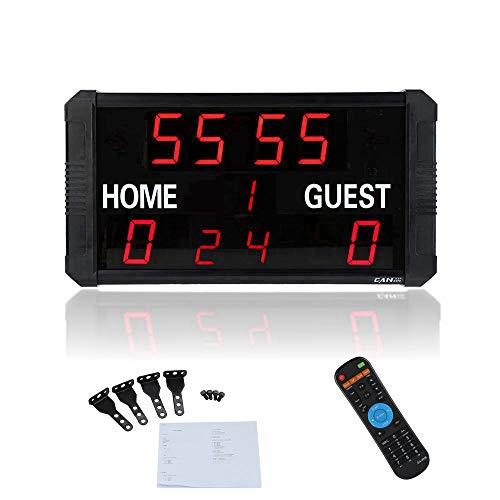 Digitale Anzeigetafel, tragbare elektronische LED - Anzeigetafel, Sport - Ergebnisanzeige mit Fernbedienung, Zeitmessung und Countdown - Stoppuhr mit Ergebnisanzeige für Basketball - Baseball usw(EU)
