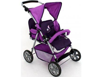 Bayer - poupée et mini poupée - poussette jumeaux tandem violette