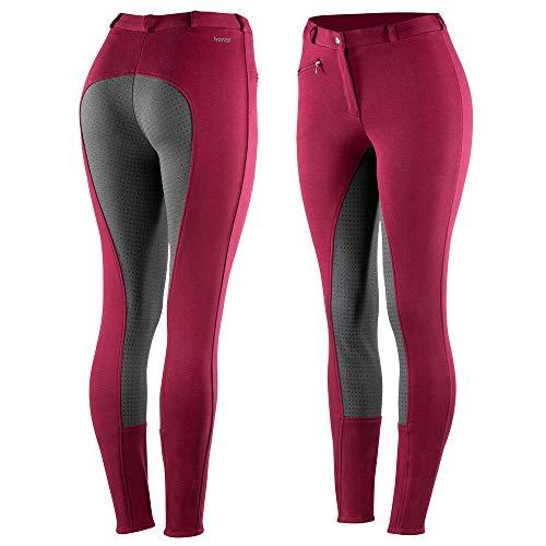 horze Active Reithose Damen, Silikon Grip Vollbesatzreithose für Damen mit Reißverschlusstaschen und elastischem Beinabschluss, Rosa, 44