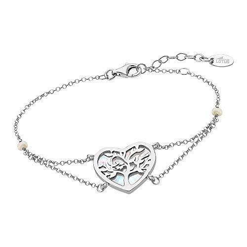 Lotus Silver Pulsera de plata de ley 925 con corazón de árbol de la vida LP1820-2-1