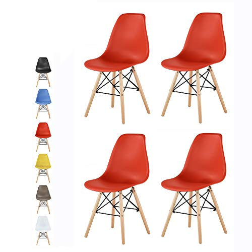 mcc direct Set of 4 Modern Design Dining Chairs Retro Lounge Chairs, LA (Red)