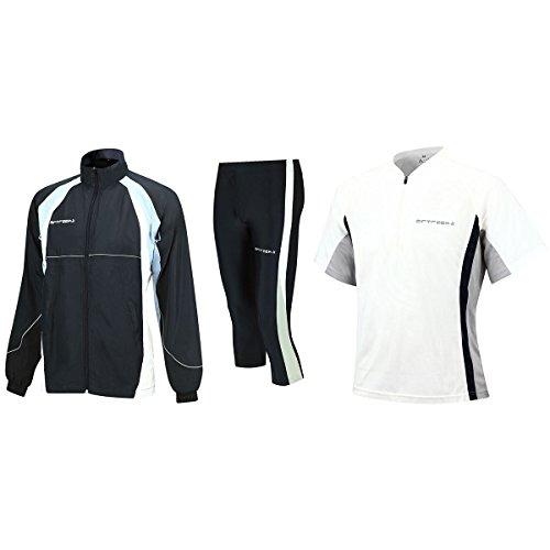 Airtracks Kit de course fonctionnel - TIGHT-3/4 - T-shirt à manches courtes et veste de course - Blanc/noir - M
