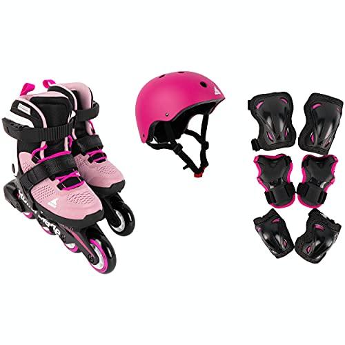 Rollerblade 21 Cube - Juego de patines en línea, color rosa y blanco