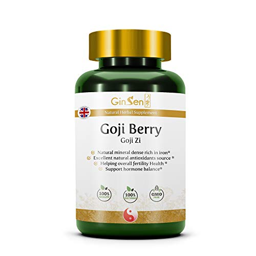 GinSen Goji Berry Natural Supplement Source of Nutrients & Antioxidants, Rich in Vitamins & Minerals, Boost Iron & Energy Levels, Traditional Chinese Medicine (60 Tablets)