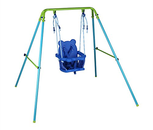 hlc Blue Folding Swing Outdoor Indoor Swing Toddler Swing with safety Baby Seat for baby/chirldren's Gift