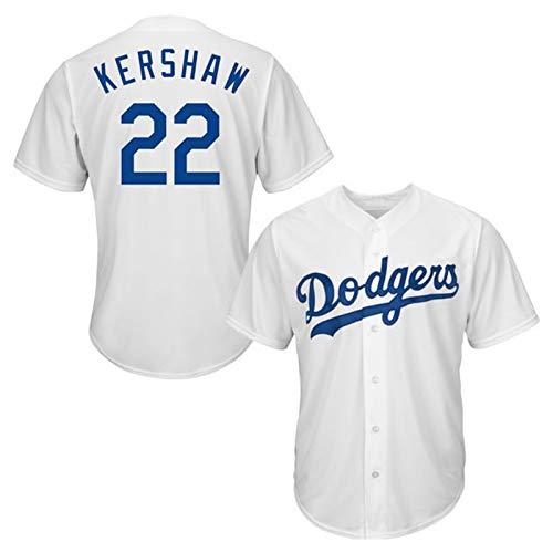 Kershaw Baseball Shirt Los Angeles Dodgers # 22, Herren Druck Baseball Trikot, Kurzarm Spiel Team Uniform Button Top (M-XXXL)-White-XXL