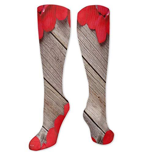 Calcetines novedosos, pétalos de rosa de San Valentín en tablones de madera que forman un corazón en forma de romántico, amor pasión, calcetines divertidos para mujer, calcetines de algodón para mujer