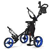 Tangkula Golf Push Pull Cart with Seat, Lightweight Folding 3 Wheels Golf Push Cart, Golf Trolley W/Storage Bag, Foot Brake, Adjustable Umbrella Holder & Seat, 4 Height Position Handle (Navy Blue)
