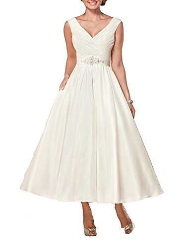 Brautkleid Damen Hochzeitskleider Lang Brautmode Satin V-Ausschnitt A Linie Elfenbein EUR44