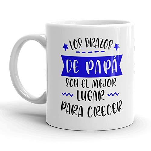 Kembilove Taza regalo día del padre – Tazas Desayuno para Papá con Mensaje Los brazos de Papá son el mejor lugar para crecer – Tazas originales – Regalo para padres