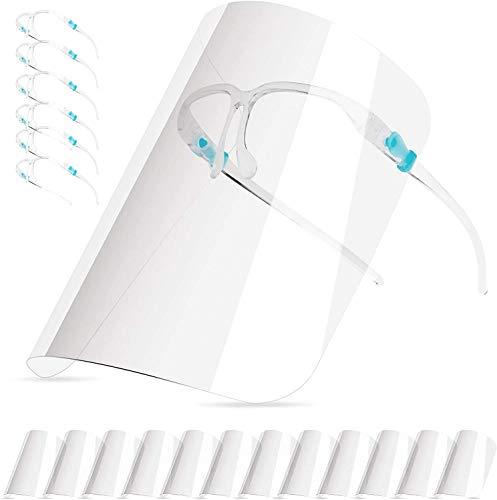 HONYAO Transparente Gesichtsschutz_Visier für Frauen und Männer können gereinigt, Schutzvisier Face_Shield Visier ausgetauscht und wiederverwendet Werden (6 Brillengestelle +12 Visier)