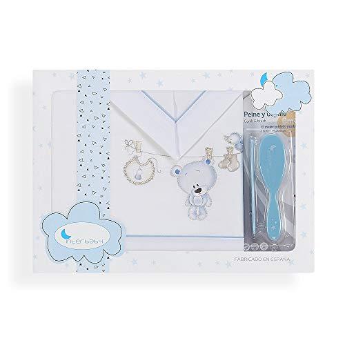 Interbaby Parure Lit 60 x 120 cm Drap 152 x 102 cm + Drap Dessous 120 x 60 x 12 cm + Coussin 60 x 30 cm + Brosse Coton Modèle Tendero B/Bleu