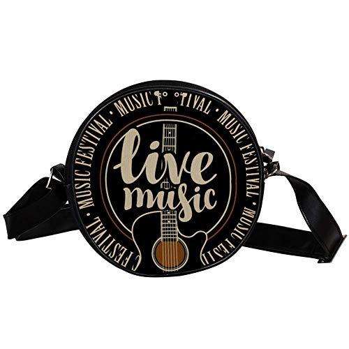 Runde Crossbody Tasche Kleine Handtasche Damen Mode Schultertaschen Messenger Bag Canvas Tasche Hüfttasche Zubehör für Frauen - Live Musik Zitate Gitarre Muster