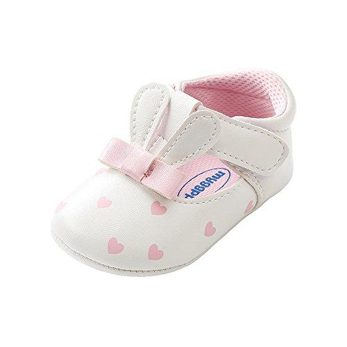 ESTAMICO Baby Mädchen Turnschuhe Anti-Rutsch Sommer Kleinkind Prinzessin Schuhe Hase Weiß 6-12 Monate