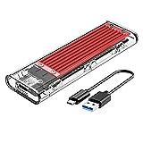 ORICO M.2 SATA SSD Caja USB 3.1 Gen1 5 Gbps a M.2 SATA Adaptador Utilizado para NGFF SATA B-Key 2230/2242/2260/2280 SSD, sin herramientas y Smart Sleep, no para NVME SSD-TCM2F Rojo