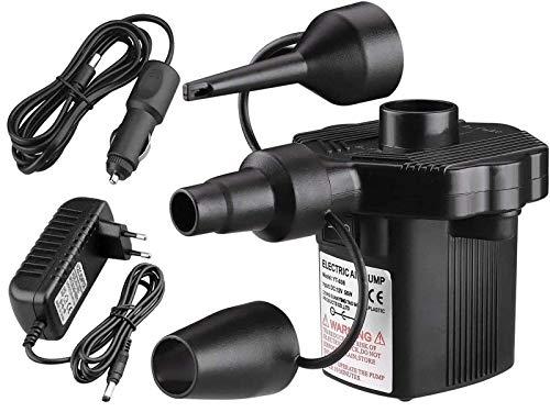 FEIGO Elektrische Luftpumpe, 2 in 1 Luftmatratze Pumpe, DC12V/AC 220V Inflator/Deflator Elektropumpe Power Pump mit 3 Luftdüse Kfz-Adapter für Pool Schlauchboot Luftbett Gymnastikball