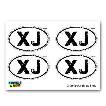 Graphics and More XJ Distressed Euro Oval - Cherokee - Set of 4 - Window Bumper Locker Stickers